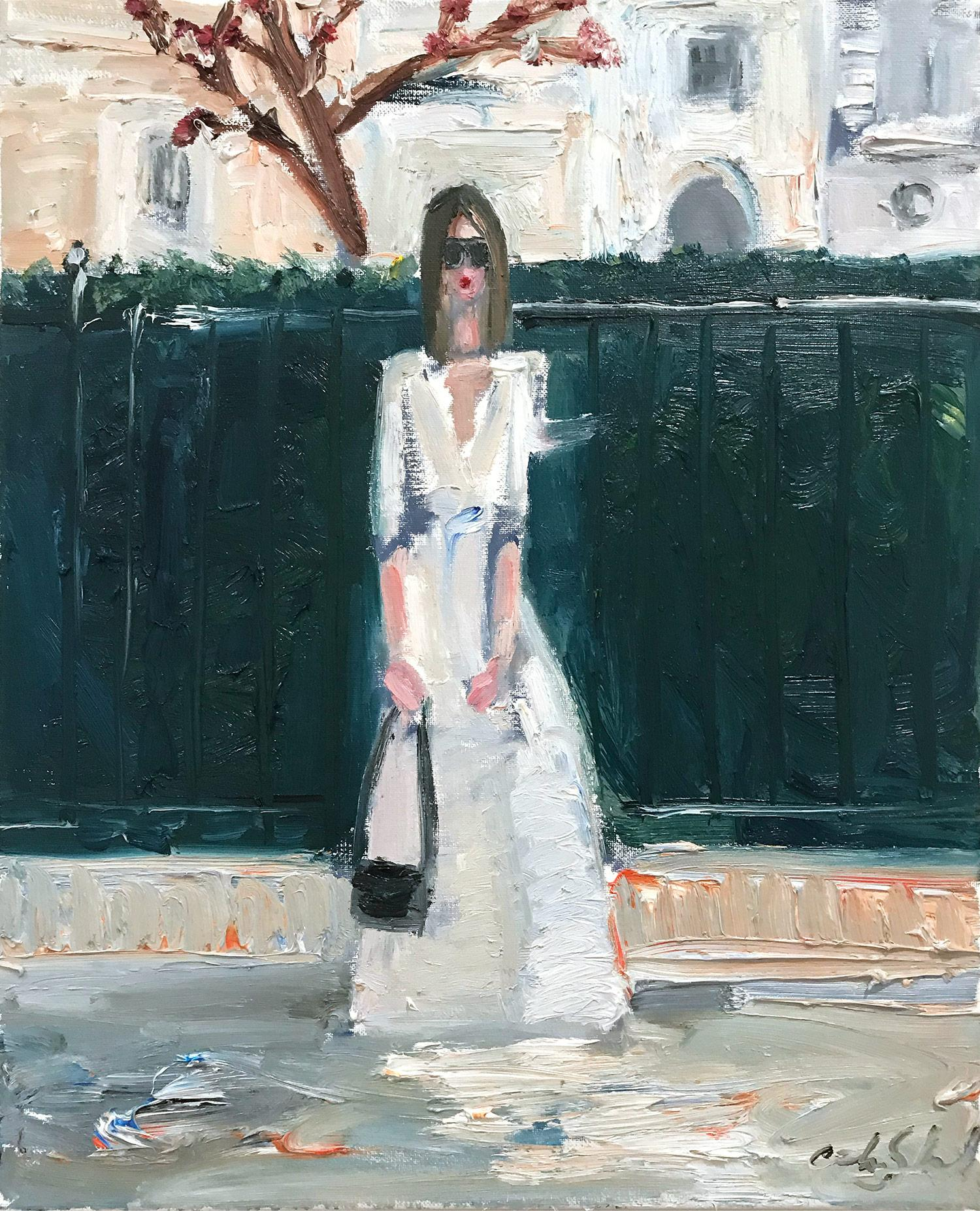 """""""Stepping Out by the Courtyard"""" Figure wearing Chanel in London Oil Painting"""