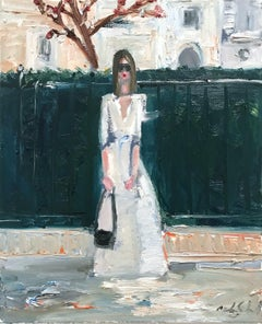"""Stepping Out by the Courtyard"" Figure wearing Chanel in London Oil Painting"