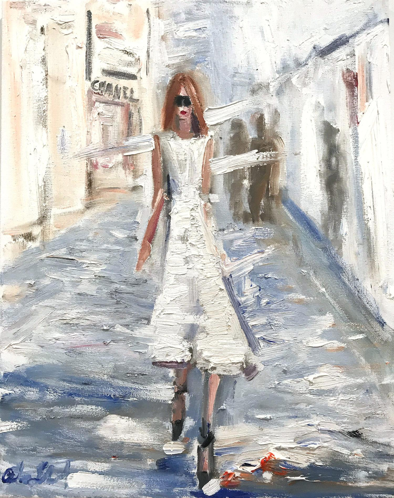 """""""Stepping Out"""" Figure wearing Chanel in London Oil Painting on Canvas"""