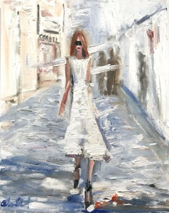 """Stepping Out"" Figure wearing Chanel in London Oil Painting on Canvas"