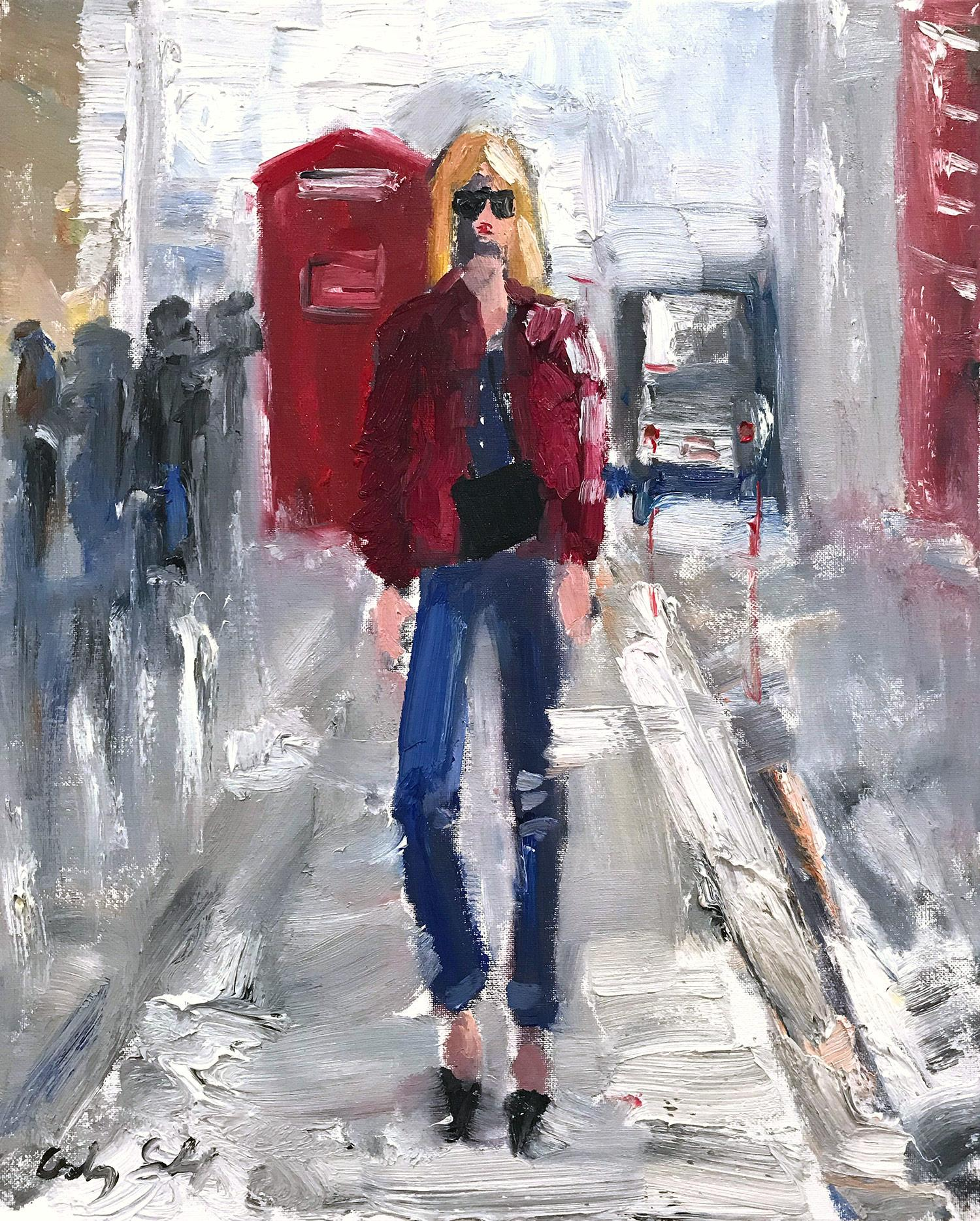 """""""Stepping Out in London"""" Figure wearing Chanel in London Oil Painting on Paper"""