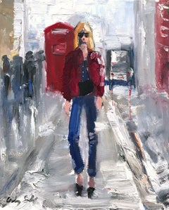 """Stepping Out in London"" Figure wearing Chanel in London Oil Painting on Paper"