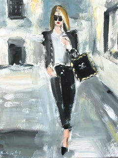 """Stepping Out in New York"" Figure wearing Chanel NYC Oil Painting on Paper"
