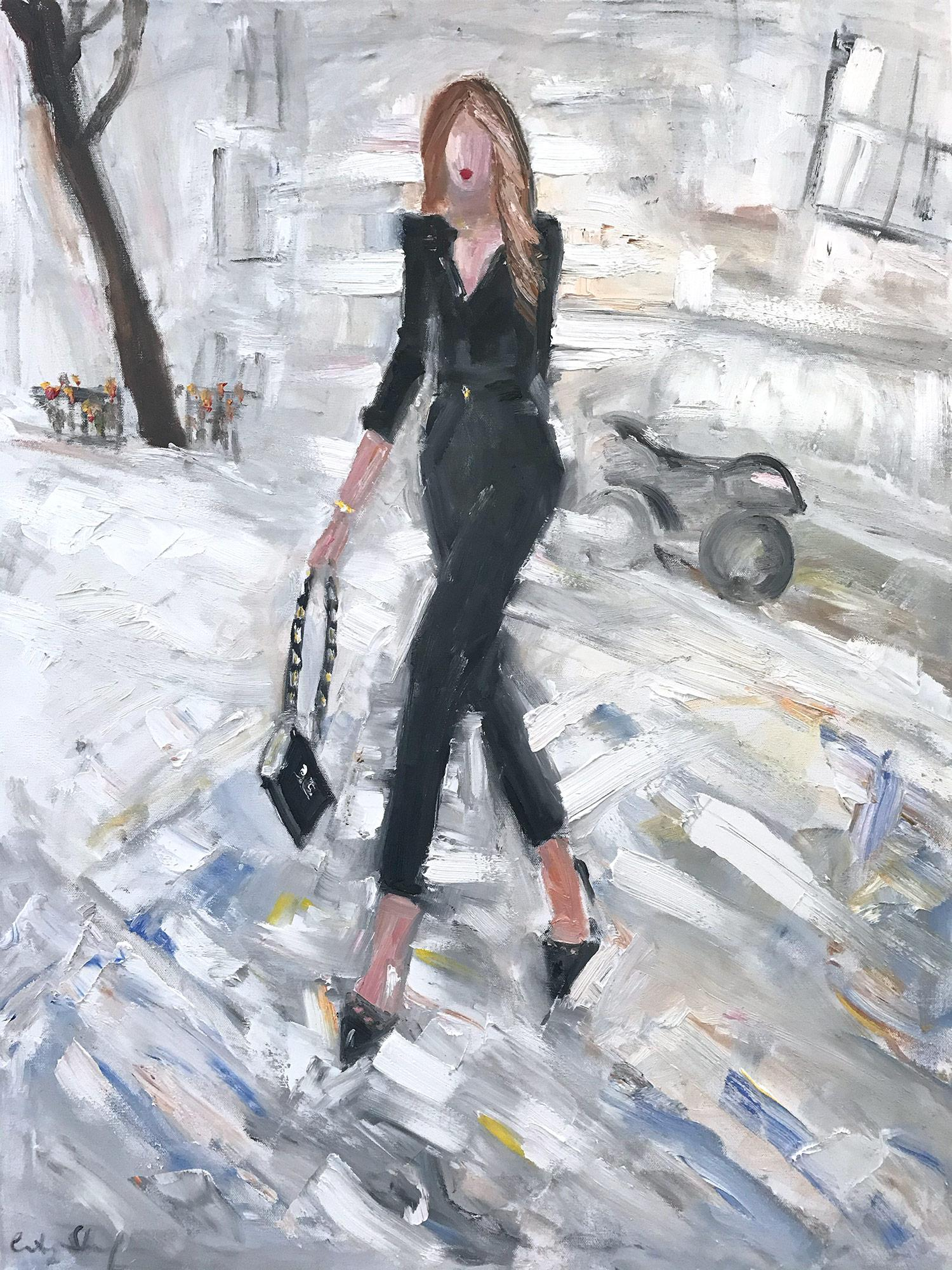 """""""Stepping out In New York"""" Figure with Chanel NYC Oil Painting on Canvas"""