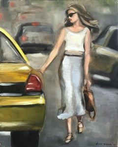 """Stepping Out - New York"" Impressionistic Street Scene Oil  Painting on Canvas"