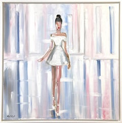 """""""Stepping Out in Paris"""" Figure wearing Chanel in Paris Oil on Canvas Painting"""