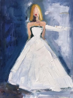 """Stepping Out in Paris"" Figure wearing Chanel Wedding Dress Oil Painting Paper"