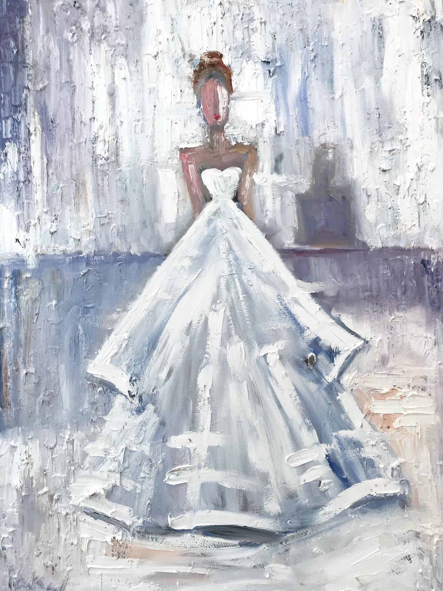 """""""Stepping Out in Paris"""" Figure White Gown Haute Couture Oil Painting on Canvas"""
