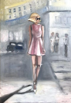 """Stepping Out in Paris"" Impressionistic Oil Painting on Canvas Woman in Sunglass"