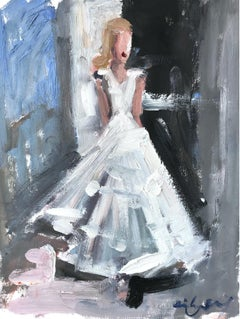"""Stepping Out In South of France"" Figure in Chanel Dress Oil Painting on Paper"