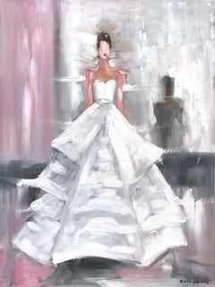 """Stepping Out in Versailles"" Paris Fashion Impressionistic Oil Painting Canvas"