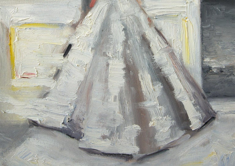 Stepping Out, Le Château - Gray Figurative Painting by Cindy Shaoul