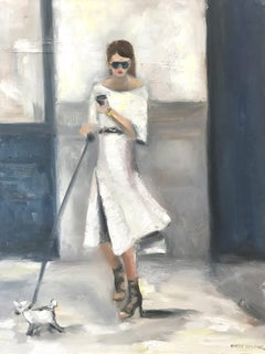 """Stepping Out, NYC"" Impressionistic Street Scene with Figure and Dog Walking"