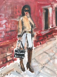"""Stepping Out with Angie"" Figure wearing Chanel in London Oil Painting on Paper"