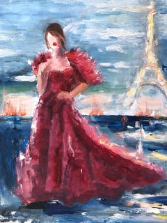 """Stepping Out with Anne Hathaway"" Figure in Paris Oil Painting on Paper"
