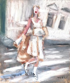"""Stepping Out with Chloe"" NYC Fashion in Chanel Impressionistic Oil Painting"