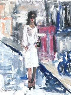 """Stepping Out with Ellen"" Figure wearing Chanel in London Oil Painting on Paper"