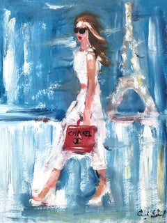 """Stepping Out with Lily"" Figure wearing Chanel in Paris Oil Painting on Paper"