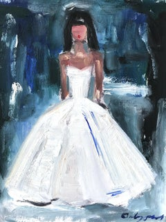 """Stepping Out with Naomi"" Figure Interior Scene in Chanel Oil Painting on Paper"