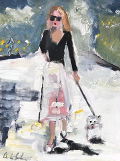 """Stepping Out With Olivia"" Figure walking Dog in Chanel NYC Oil Painting Paper"