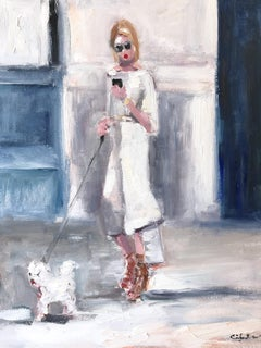 """Stepping Out with Olivia"" NYC Fashion Impressionistic Oil Painting with Dog"
