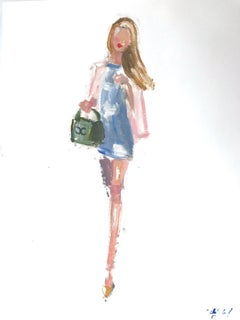"""""""Stepping Out with Olivia"""" Oil Painting on Paper Figure in Chanel Haute Couture"""