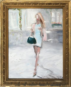 """""""Stepping Out with Rosie in Paris"""" Impressionistic Oil Painting Model in Chanel"""