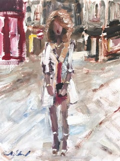 """Stepping Out with Sammy"" Figure wearing Chanel in London Oil Painting on Paper"