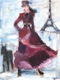 """Stepping Out with Spike the Dog"" Paris Figure in Chanel Oil Paint on Paper"