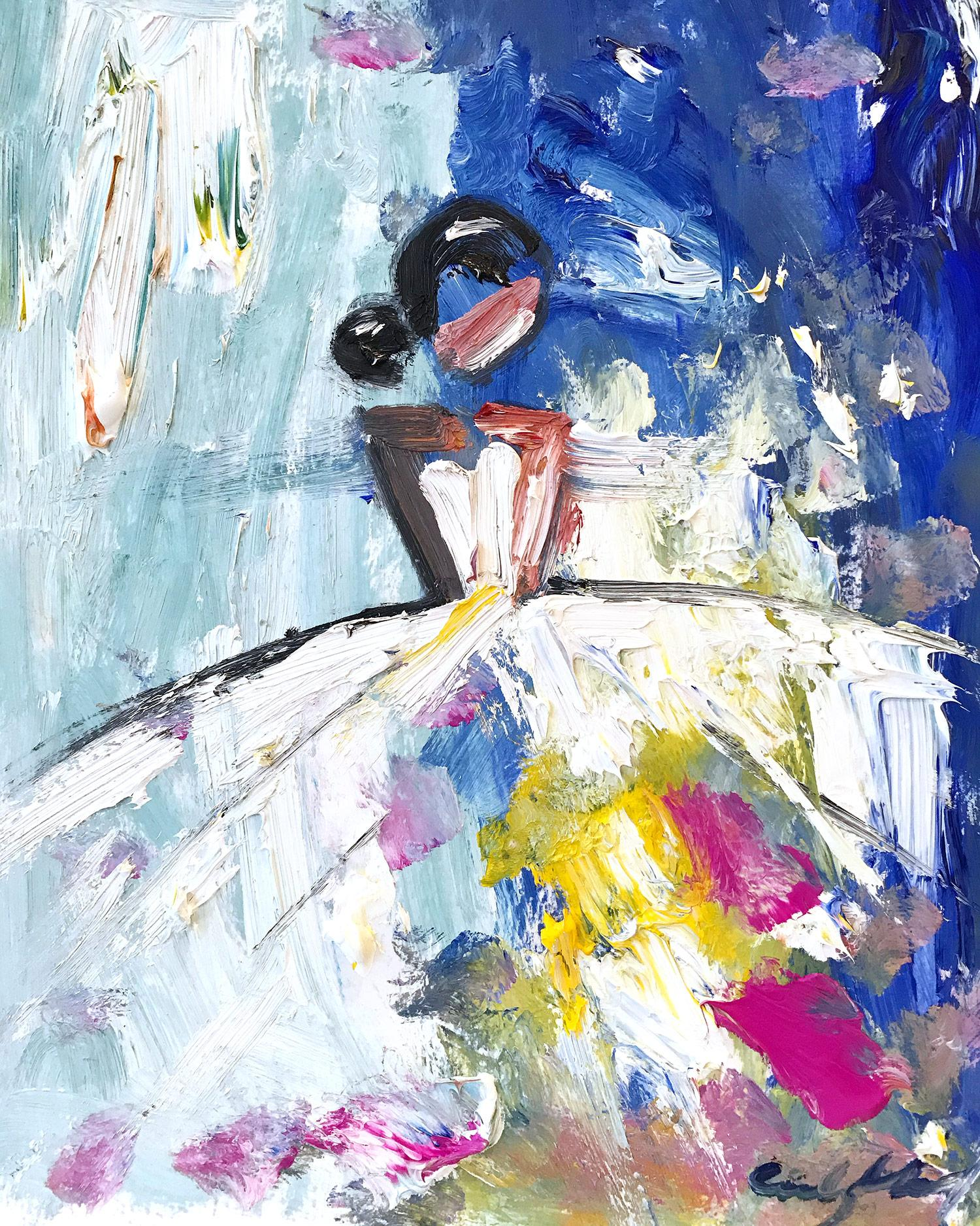 """""""Summer"""" Abstract Figure with Gown French Haute Couture Oil Painting on Paper"""
