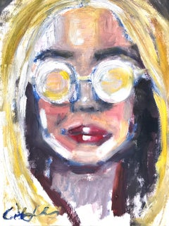"""Summer Daze"" Portrait of Young Girl with Sunglasses Oil Painting on Paper"