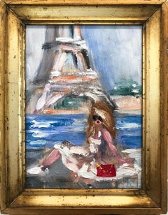 """""""Sunbathing by the Eiffel Tower"""" Impressionistic Oil Painting of a Young Girl"""