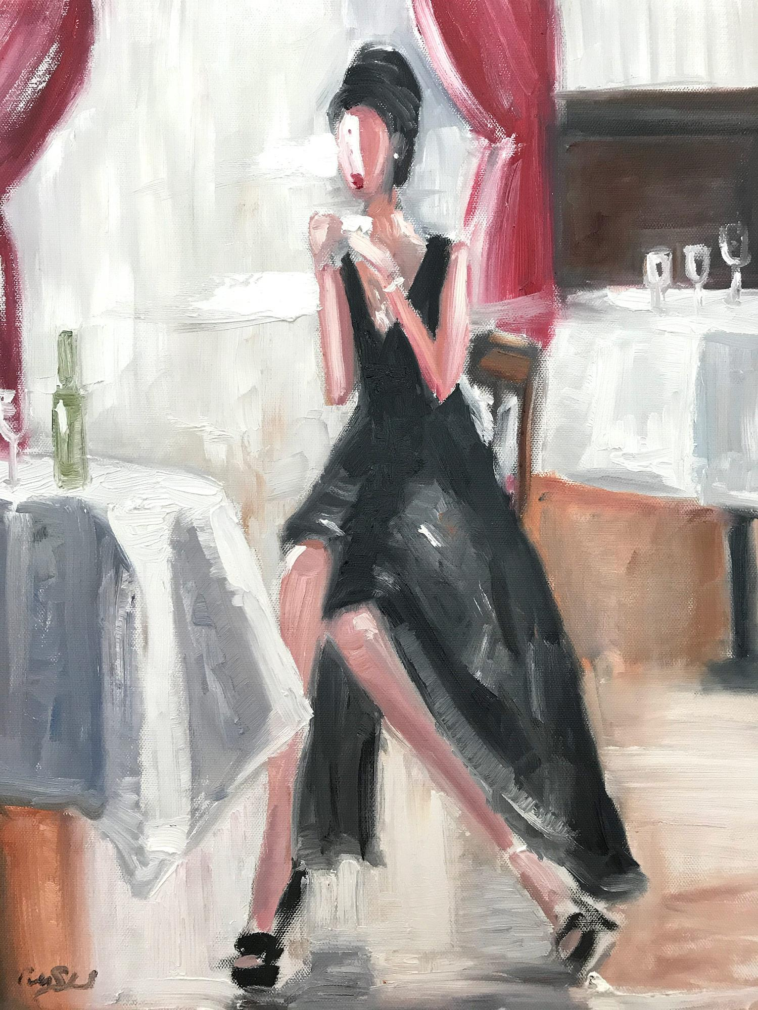 """""""Tea at the Plaza"""" New York City Fashion Impressionistic Oil Painting on Canvas"""