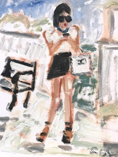 """Texting"" Figure Exterior Scene of Figure Chanel Oil Painting on Paper"