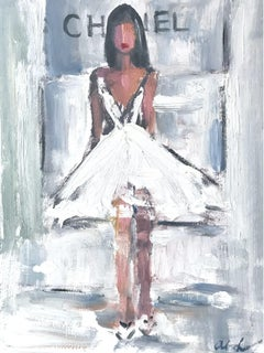 """The Ballerina"" Figure wearing Chanel Fashion Show Oil Painting on Paper"