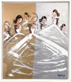 """""""The Ballerinas"""" Abstract Figures with Gowns French Oil Painting on Canvas"""