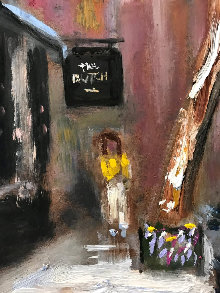 This painting was painted on sight by the artist. Depicting an iconic New York City street scene in the corner of 'The Dutch' Restaurant in an impressionist manner, with beautiful brushwork and whimsical details, this piece captures the essence of