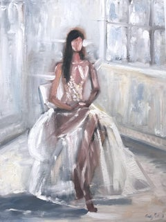 """The Seated Butterfly"" Paris Fashion Impressionistic Oil Painting Canvas"