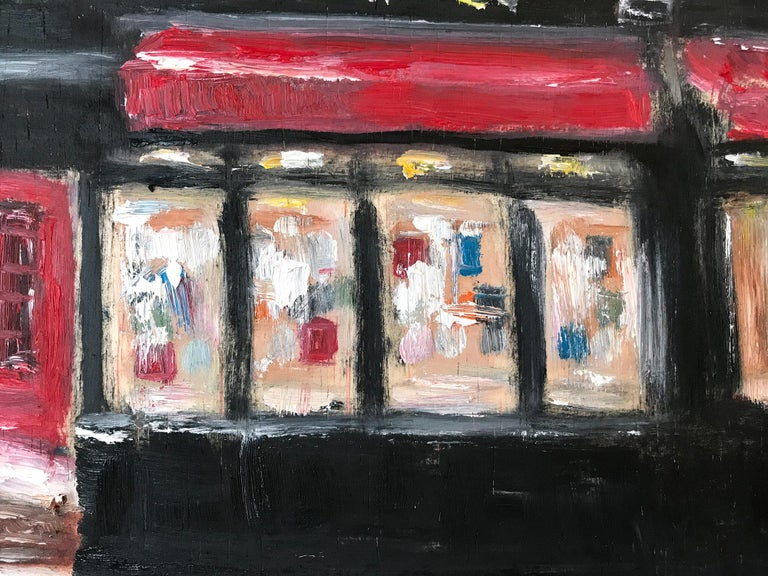 A charming depiction of Three Lives & Co Book Shop. A cozy impressionistic scene with warmth and feeling. A whimiscal scene with stunning details and beautiful brushwork. A Plein Air painting, this piece captures the essence of a Greenwhich living,