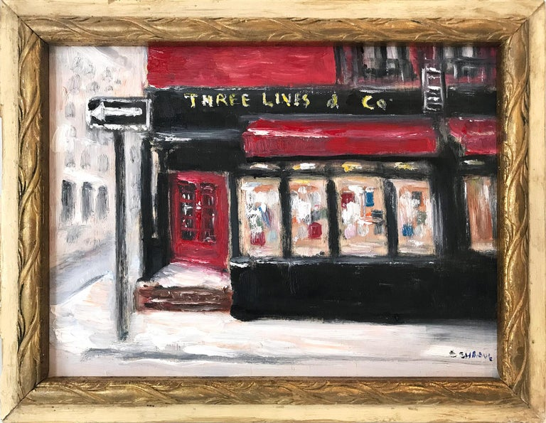 """Cindy Shaoul Still-Life Painting - """"Three Lives & Co"""" Impressionist Plein Air Oil Painting in Greenwich Village"""