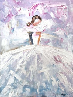 """""""Tiffany"""" Abstract Figure with Gown French Haute Couture Oil Painting on Canvas"""
