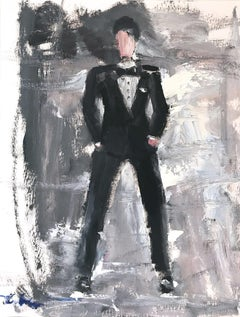 """Tux"" Figure wearing Saint Laurant Tuxedo in London Oil Painting on Paper"