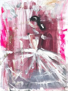 """Valentina"" Figure with Gown French Haute Couture Oil Painting on Paper"