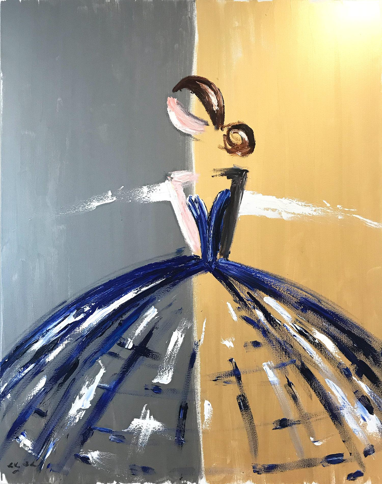 """""""Victoria"""" Abstract Figure with Gown French Haute Couture Oil Painting on Canvas"""