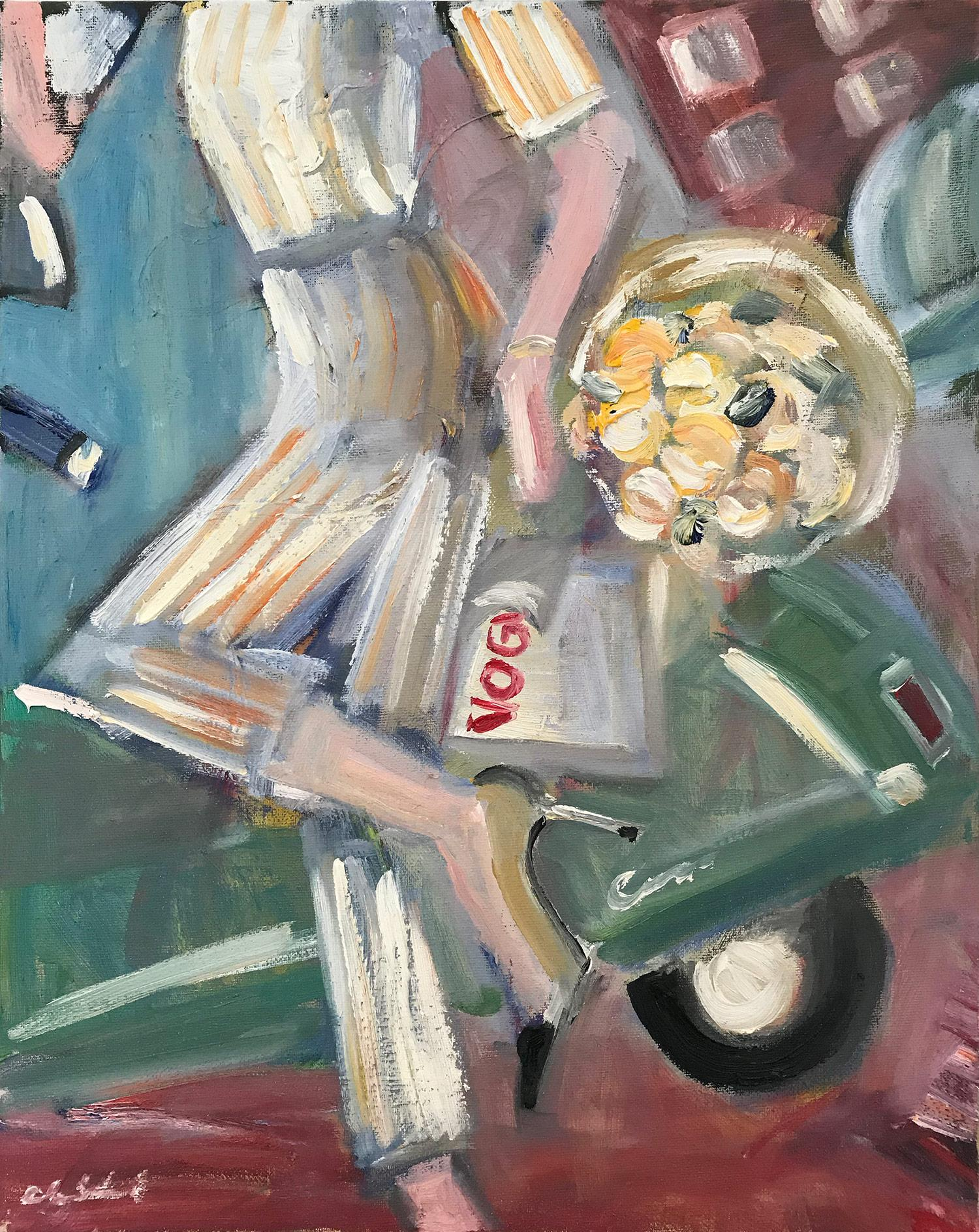 """""""Vogue, Vespa, Flowers"""" Figure with Chanel NYC Oil Painting on Canvas"""