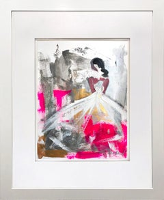 """""""Wanda"""" Abstract Figure with Gown French Haute Couture Oil Painting on Paper"""
