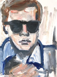 """Young Andy"" Figure of Andy Warhol NYC Oil Painting on Paper"