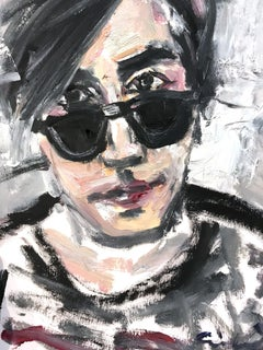 """Young Andy in Sunglasses"" Figure of Andy Warhol NYC Oil Painting on Paper"