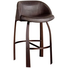 Cine Bar Stool by Kelly Wearstler, Upholstered in Grey Textured Leather