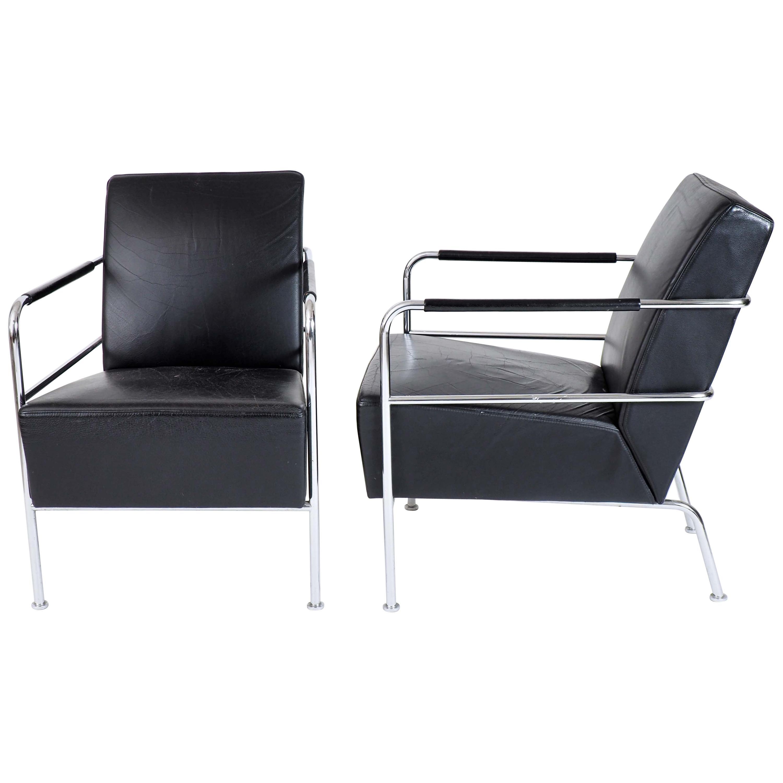 "Two ""Cinema"" Lounge Chairs in Black Leather by Gunilla Allard, Lammhults, Sweden"
